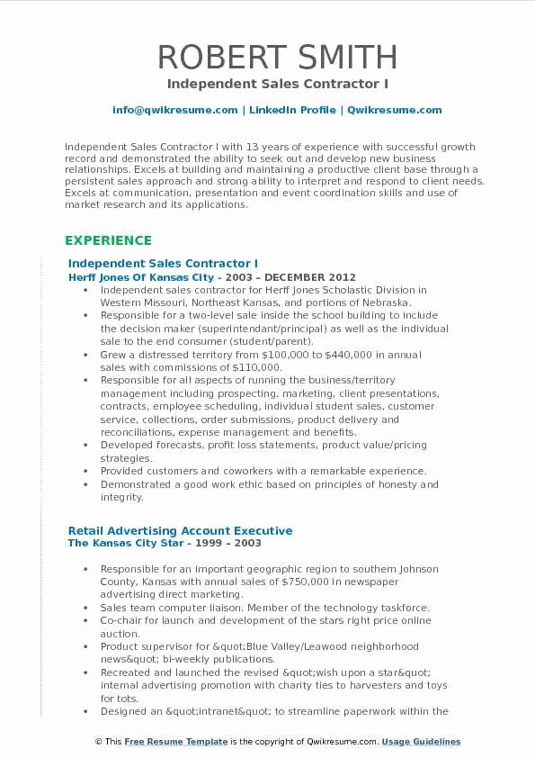 Independent Consultant Resume Example Beautiful Sales Contractor Resume Samples In 2020 Resume Examples Teacher Resume Examples Sales Resume Examples