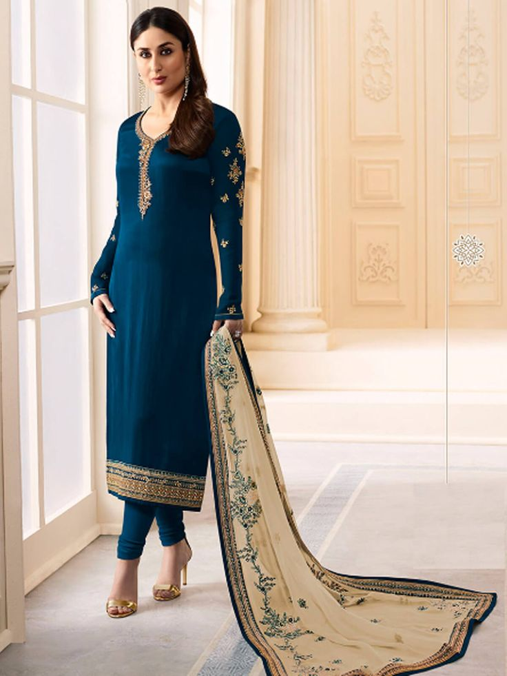 Spunky navy blue georgette festival wear straight cut suit. Having fabric georgette, satin, santoon and nazneen. This beautiful attire is showing some amazing embroidery done with embroidery work, resham embroidery work, zari work, zari border and lace border work. Comes with matching bottom and dupatta. #mydesiwear #Onlineshop #Salwarsuits #CasualSuits #PatiyalaSuits #Salwarkameez #DiscountOffers #StarightCutSuits #Georgette #WeddingCollection #valentinesday #valentinegiftsforher