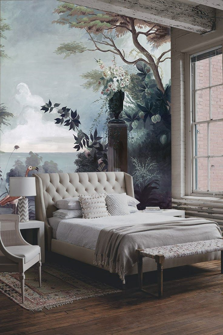I really like the contrast between the sophistication of the bed and scenic wall, with the rest of the industrial loft.