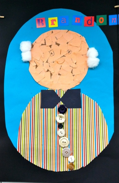 We draw the picture of the face, then wrinkle it up into a ball. Smooth it out, and write a story about what you'll do when you are 100 years old!