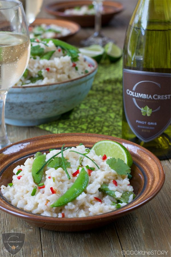 Asian Oven-Baked Risotto with Ginger, Red Chili, & Sugar Snap Peas | #glutenfree #dairyfree #vegan