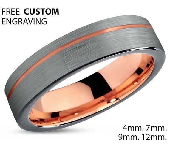 Black Tungsten Ring Rose Gold Wedding Band Ring Tungsten Carbide 4mm 18K…
