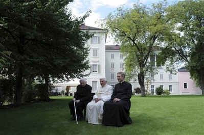 Catholic News - Pope Benedict XVI is vacationing in Bressanone, a German speaking Alpine village in northern Italy that once belonged to Austria.  Seated to the pope's right is his brother Father Georg Ratzinger and seated to the pope's left is his secretary, Father Georg Gaenswein.  The pope is on vacation in Bressanone from August 3 to August 11.