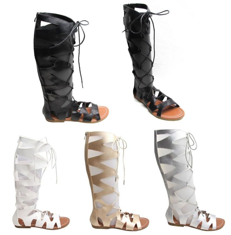 LADIES WOMENS CUT OUT GLADIATOR SANDALS FLAT KNEE BOOTS STRAPPY UK SIZE 3-8 #Unbranded #GREEK #Casual