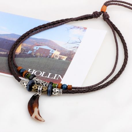 Vintage Tribal Boheme Wolf Tooth Necklace Braided Leather Rope Multi Layer Tibetan Beads