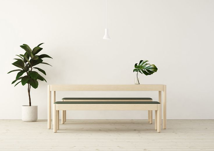 solid light wood tables and benches that absorb sound, great for living rooms