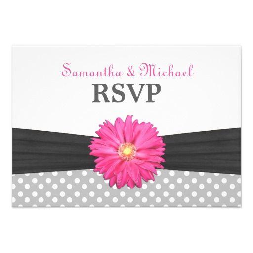Pink Daisy Wedding RSVP Card
