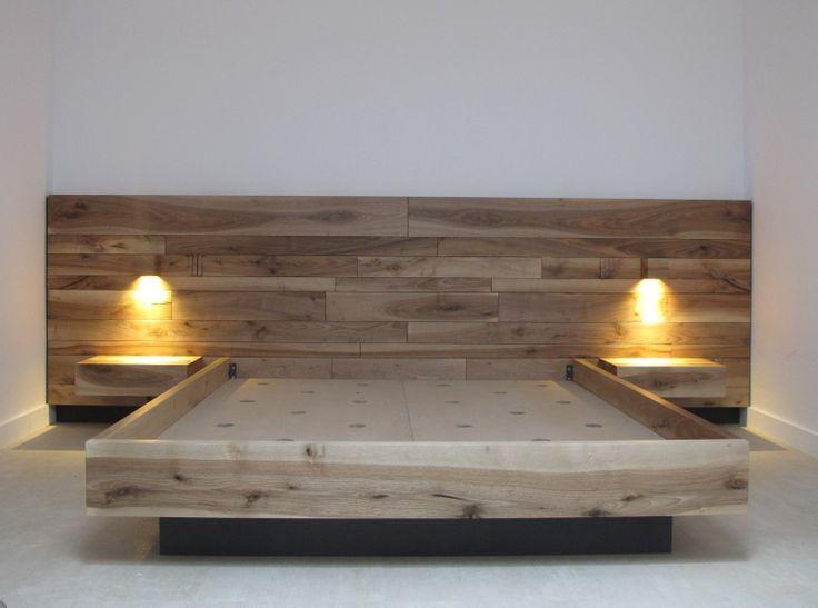 M s de 25 ideas incre bles sobre madera maciza en for Lamparas cabezal cama
