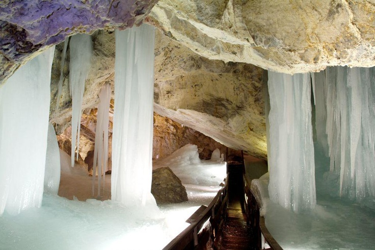 Dobšinská Ice Cave, situated in Slovak Paradise national park as one of the biggest ice caves in the world.