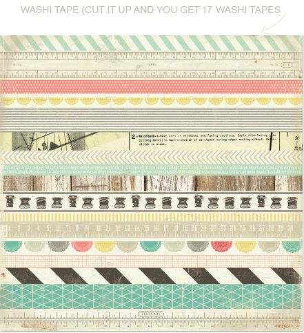 "Crate Paper - Washi tape on a 12x12 sheet, self adhesive and ready to cut in strips and then either keep as 17 strips of 12"" washi tape, or cut into smaller segments."
