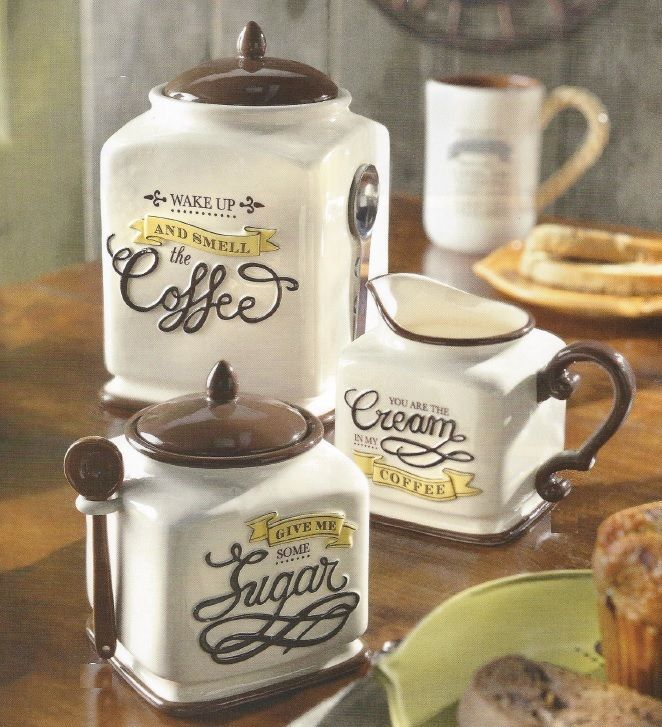 New Coffee Themed Canister, Sugar Bowl U0026 Creamer Kitchen Decor Gift Set Part 92