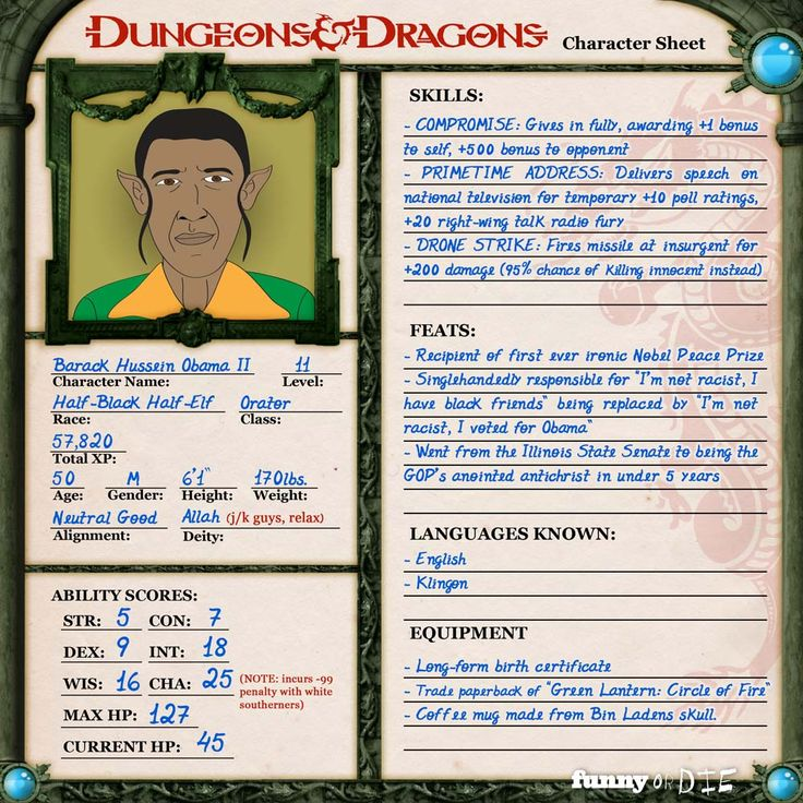 Presidential Candidates Explained Through Dungeons + Dragons Character Sheets.