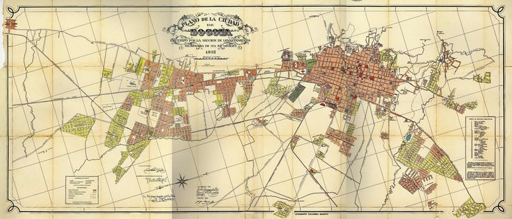 Impresionante plano de Bogotá en 1932.