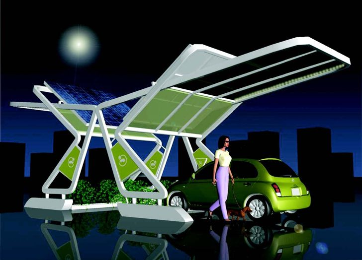 This car charging station recently won the Duo-Gard Charging Station Design Contest! The challenge was to create a one-car charging station and canopy that is both sustainable and flexible in its installation and usage.