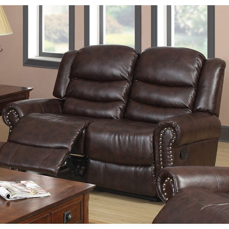 godfather brown bonded leather reclining loveseat