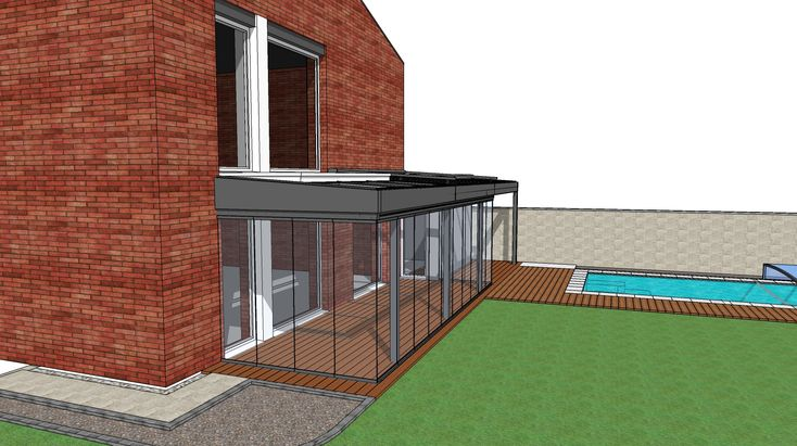Zimná  záhrada SPECEline,  bezrámový posuvno-otočný systém SUNFLEX sf25, sklenená strecha, oceľová konštrukcia na mieru, tienenie strechy