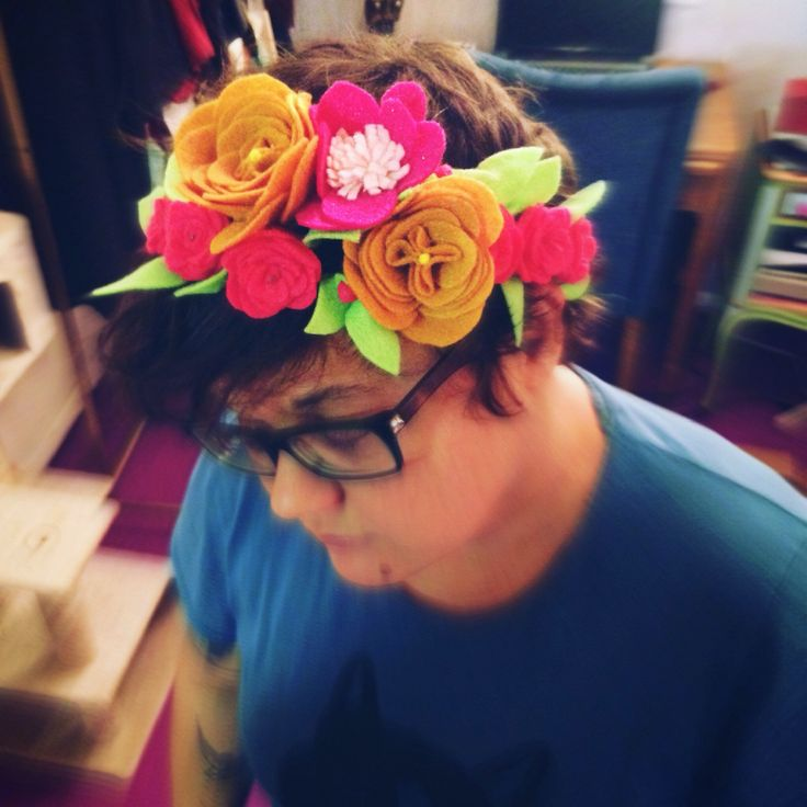Felt Flower Wreath EcoFi Crown Hair Tiara Headband Accessory for Adults, Kids and Babies