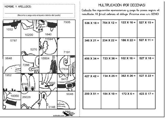 Recursos Matemáticos: Multiplicando por medio de un Rompecabezas - 3ro. y 4to. Básico