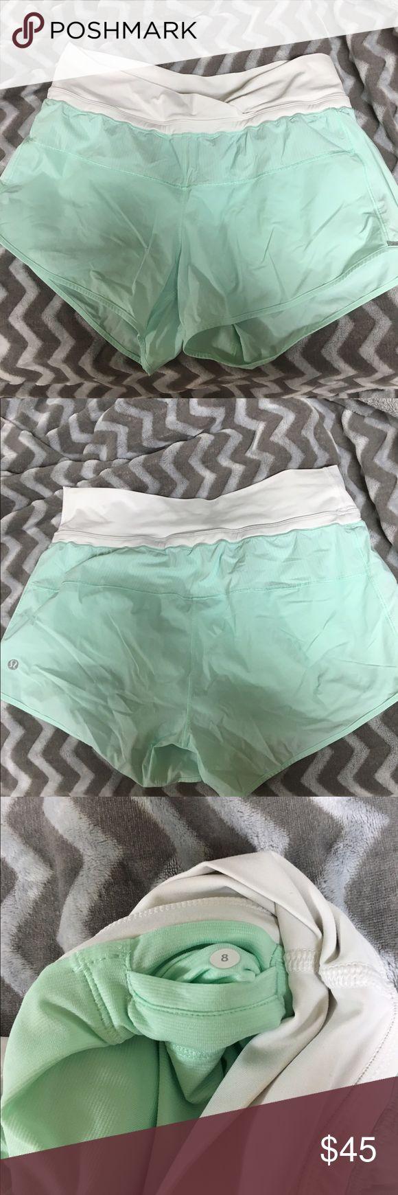 EUC Lululemon mint green shorts Sz 8 Great condition Lululemon mint green shorts in a size 8! lululemon athletica Shorts