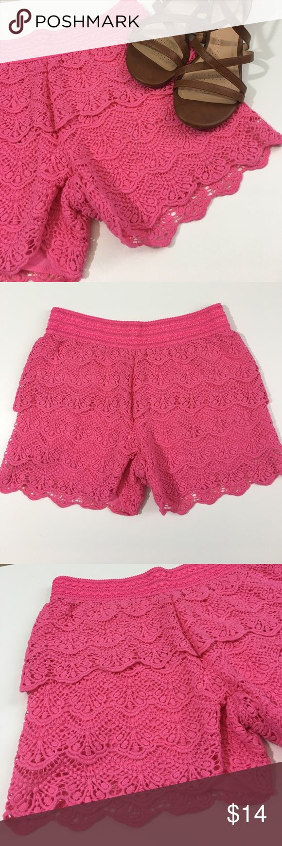 Pink lace shorts Pink tiered lace shorts. Elastic waist. True to size Justice Bottoms Shorts