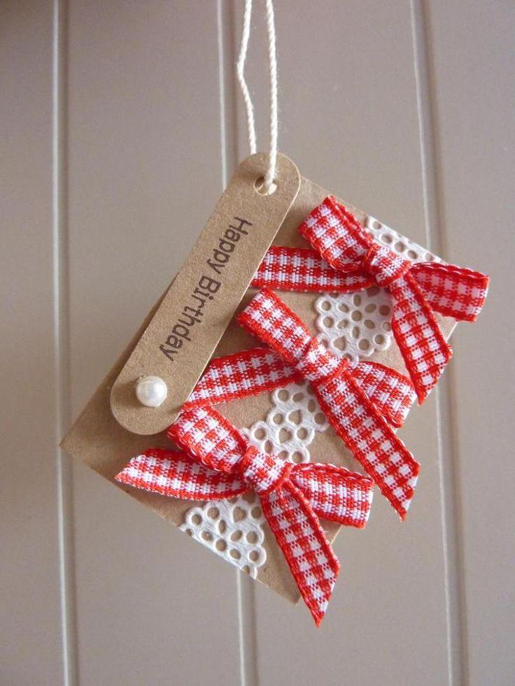 148.ギンガムリボンのバースデーminiタグカード | 簡単手作りカード                                             Chocolate Card Factory