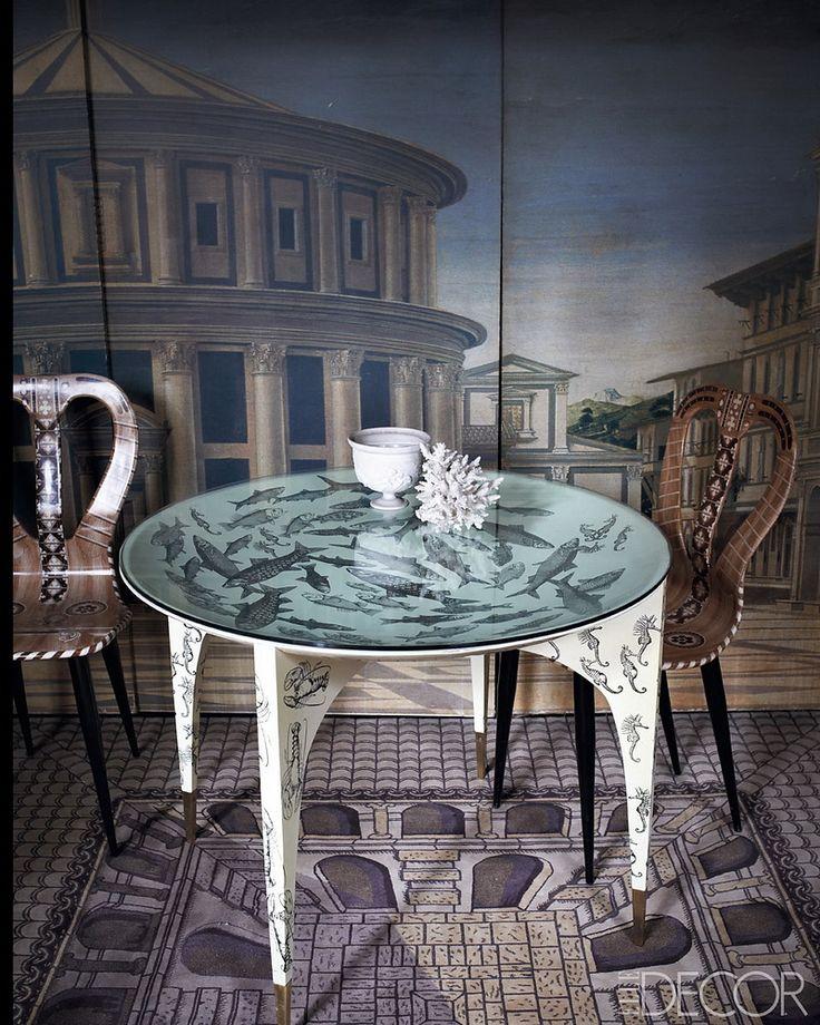 Barnaba Fornasetti's home, Milan, Elle Decor.: