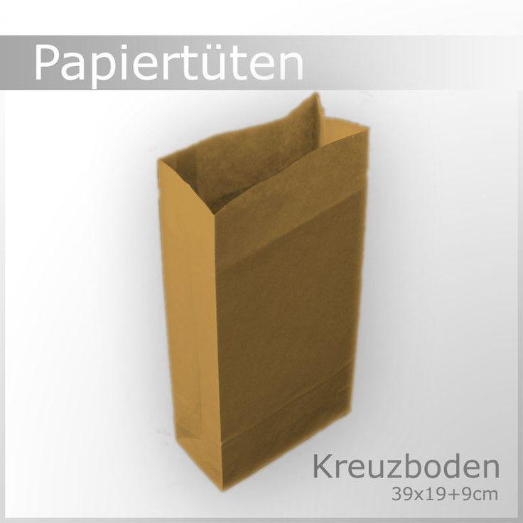 Papiertüten braun 39x19+9 Kreuzboden Beutel Tüten Kraft Papierbeutel WOW No.3122