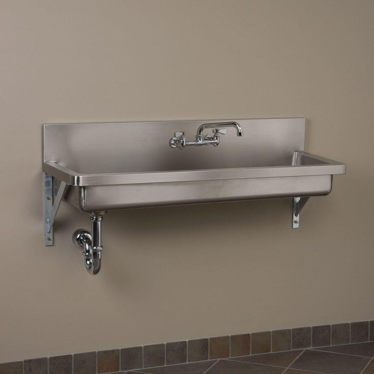 """71"""" Stainless Steel Wall-Mount Commercial Sink - No Faucet Holes"""