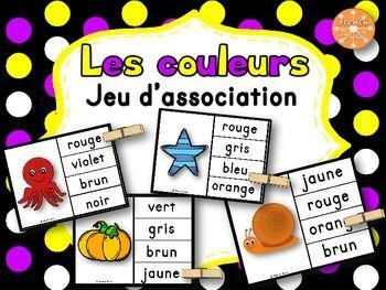 Les couleurs - jeu d'association #2. Excellent centre de littératie pour pratiquer les couleurs avec des pinces à linges.