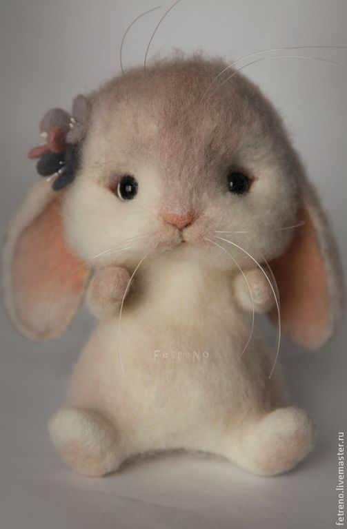 *NEEDLE FELTED ART ~ Animal toys, handmade.  Fair Masters - handmade.  Buy toys made of felt.  Bunny-pobegayka .. Handmade.  Toy made of wool