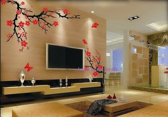 Plum blossom:cherry blossom tree wall decals,wall decals, children wall decals,vinyl wall decal, wall stickers,flowers wall decals