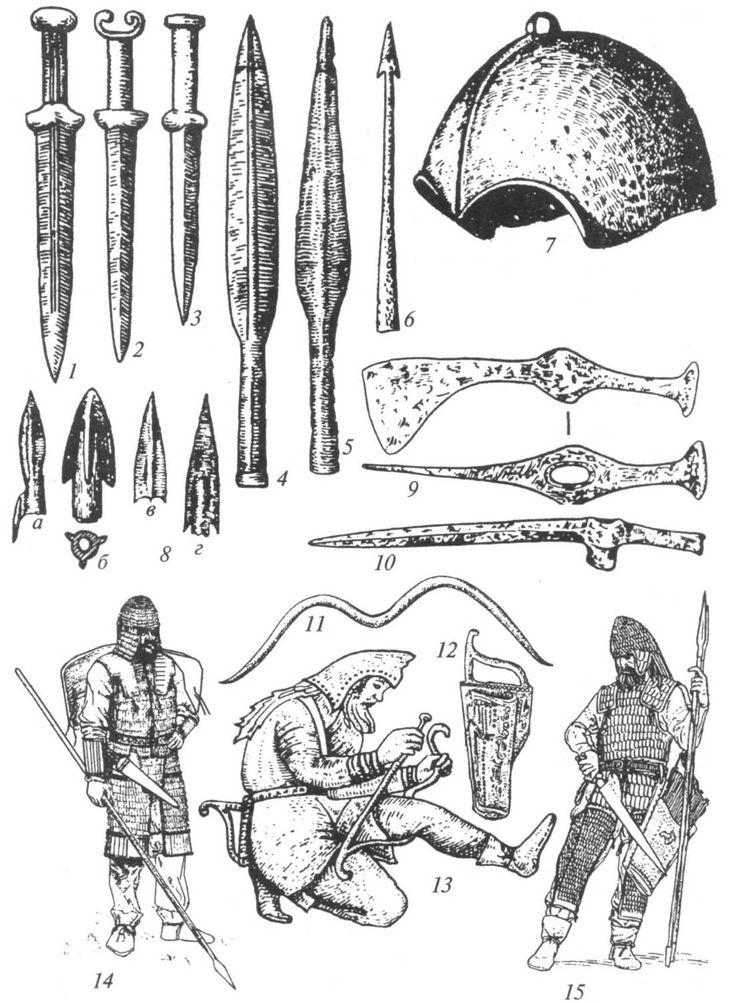 1-3 — железные акинаки; 4-6 — железные наконечники копий и дротика; 7 — бронзовый шлем; 8, а-г — бронзовые наконечники стрел с втульчатым креплением; 9 — железный боевой топор; 10 — железный чекан; 11 — бронзовая модель лука «скифского типа»; 12 — горит с луком и карманом для стрел (изображение на золотой пекторали из кургана Толстая Могила); 13 — изображение скифа, натягивающего тетиву на лук (на электровом сосуде из кургана Куль-Оба); 14, 15 — снаряжение скифских воинов (реконструкция).