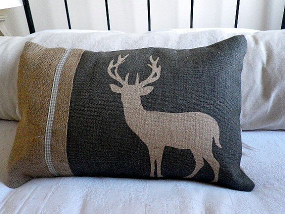 hand printed charcoal stag cushion cover by helkatdesign on Etsy, $70.00
