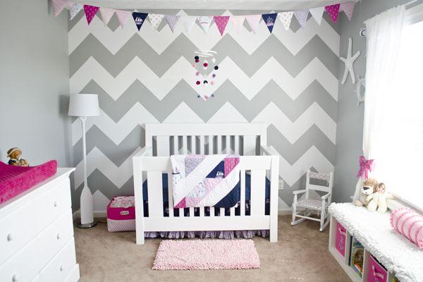 Grey, white, navy, pink chevron nursery