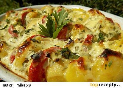 Zapečené libečkové brambory s jogurtem recept - TopRecepty.cz