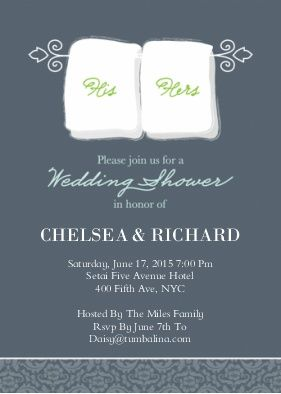 Wedding Shower His U0026 Hers Towels | Couples Shower Invitations Cards | By  Tumbalina | Snapfish