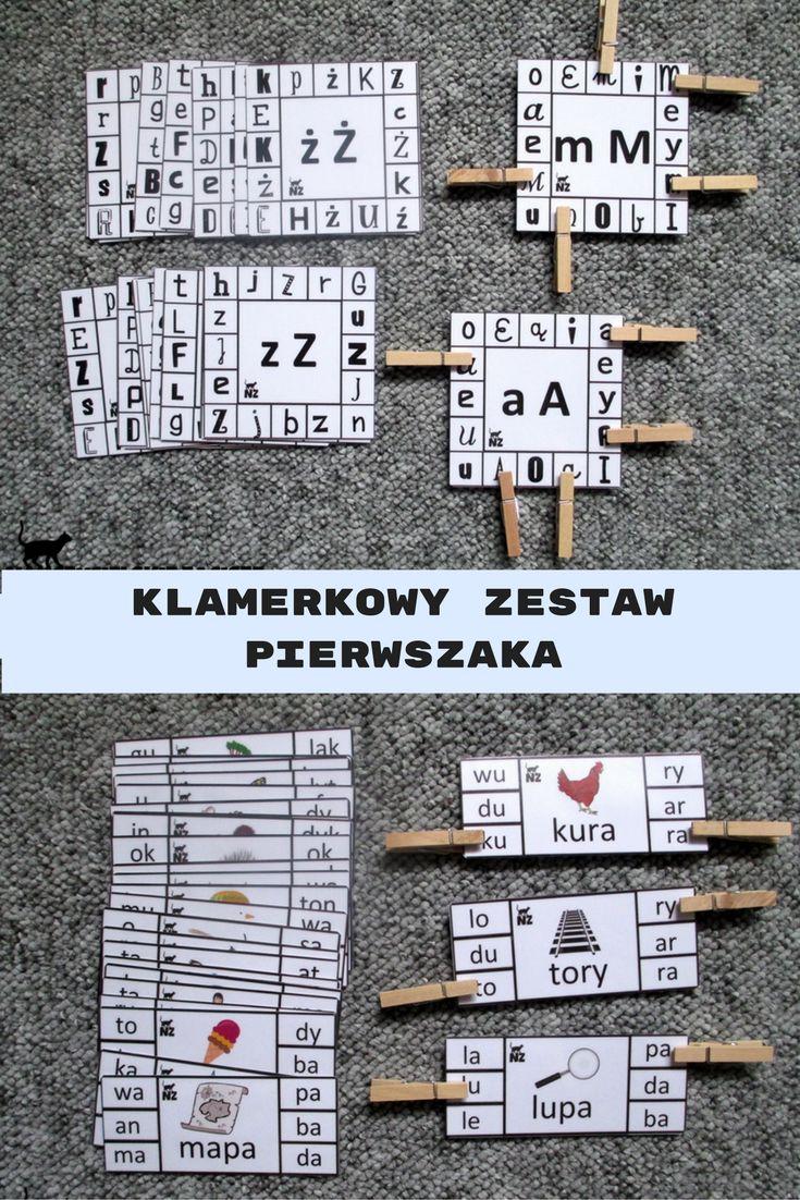 Klamerkowy zestaw pierwszaka - litery, sylaby, głoski,