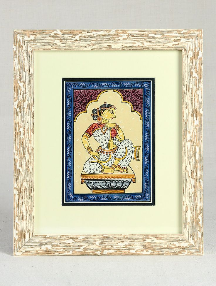 Buy Multicolor Framed Sitting Woman Pattachitra Painting on Silk 13in x 11in 0.5in Art Decorative Folk Picture Perfect Handmade Indian Traditional Paintings Online at Jaypore.com