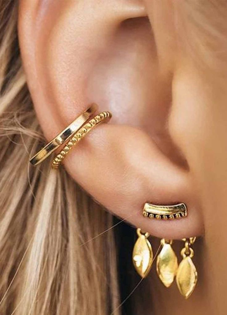 Cute SImple Ear Piercing Ideas at MyBodiArt.com -  All the Way Up Gold Conch Earring Ring