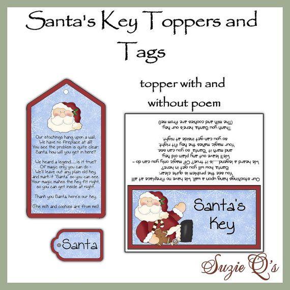 Santas Key toppers and tags set - Digital Printable - Good Craft Show Seller - Immediate Download via Etsy