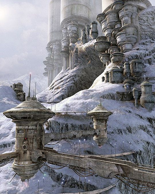 Science Fiction Worlds  Source search: Alpine Village by Stefan Morrell? http://www.sghi.info/GL/img/Wasteland.Style/Art_from_The.Computer.Graphics.Society/Alpine.Village_by_Stefan.Morrell.jpg