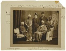 The Dreadnought hoaxers in Abyssinian regalia; the bearded figure on the far left is in fact the writer Virginia Woolf.