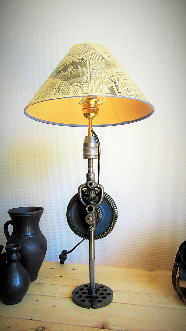 lumimeca recycled steampunk table lamp lamps lighting ideas pinterest objets d tourn s. Black Bedroom Furniture Sets. Home Design Ideas