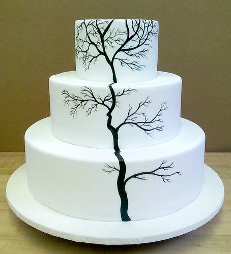 That S Kinda Cool Painted Tree Wedding Cake This Would Be With Like A
