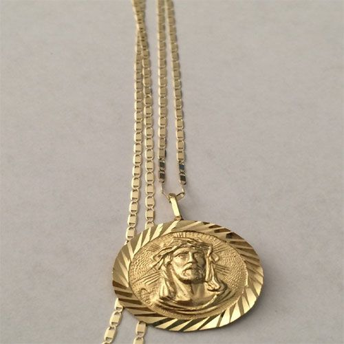 d5116f235 Yellow Rose 14K Gold Jesus Face Pendant Charm with Gucci Chain by RG&D