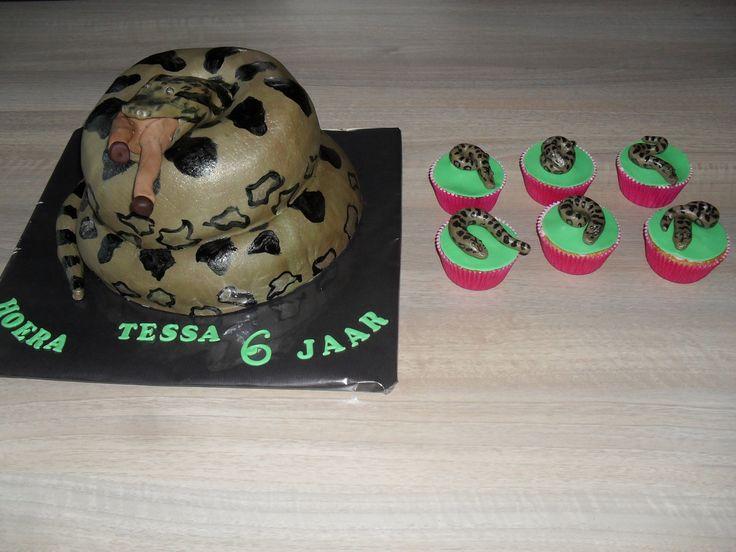 Slangen taart anaconda met cupcakes/ snake cake with cupcakes