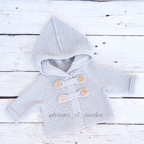 Crochet baby cardigan | Grey baby hoodie | Cat ears baby jacket | Knit baby…