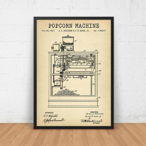 806 best vintage patents images on pinterest print store cinema patent prints vintage popcorn machine blueprint home malvernweather Images