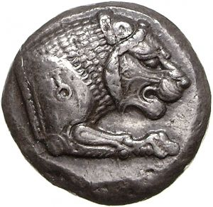 Doppio siclo - argento - Caria (ca. 500 a.C.) - protome leonina vs.dx. con marchio della Caria sulla spalla - Münzkabinett Berlin