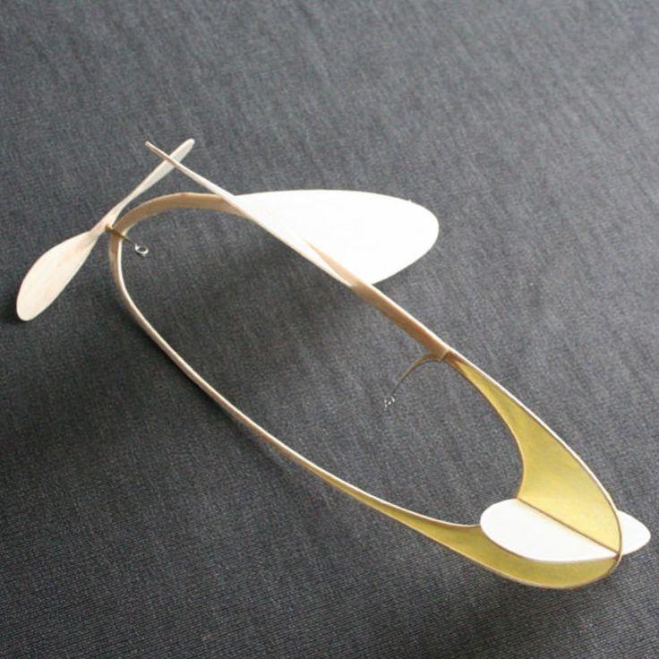 "ondrejmitas: "" Intersecting ellipses rear ¾. #kinetic #sculpture #flight #fly #air #art #aviation #engineering #balsa #wood #tissue #paper #sky #yellow """